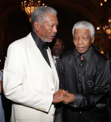 Nelson Mandela and Morgan Freeman