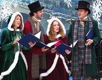 Christmas carolers singing outside
