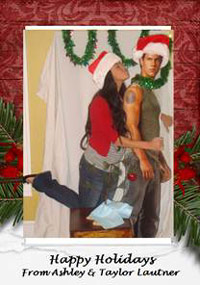 Ashley Garmany and Taylor Lautner Christmas card