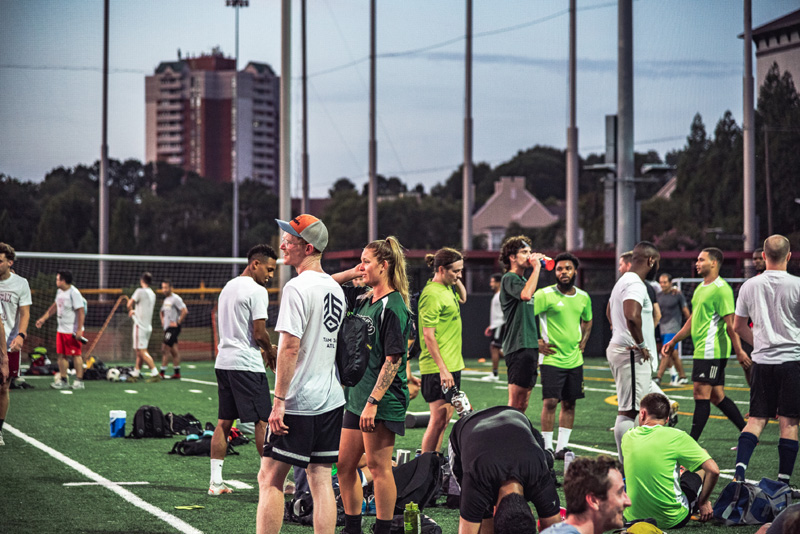 League players on the pitch in between games