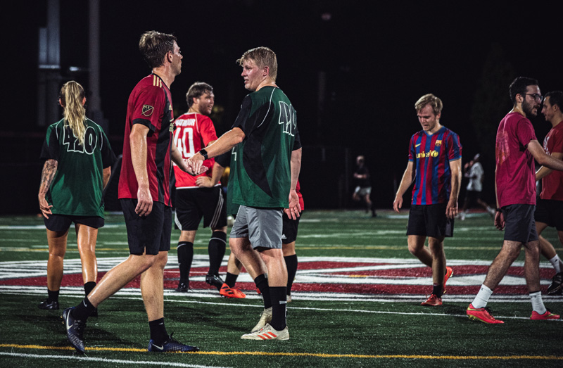 SOPFC league players showing good sportsmanship after a game