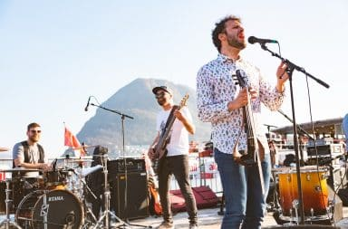Rock band playing outside