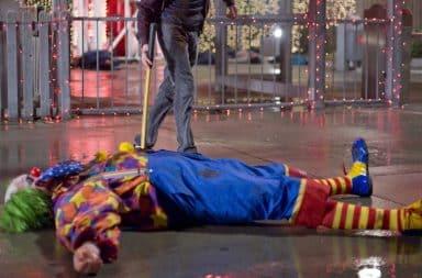 Dead clown at a carnival