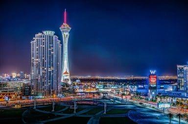 Vegas skyline in neon