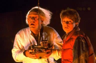 Doc Brown and Marty holding remote control in Back to the Future