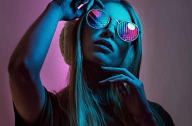 Dead girl in neon sunglasses