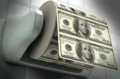 Toilet paper made of fake hundred dollar bills