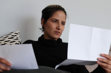 Ex-girlfriend reading a handwritten letter