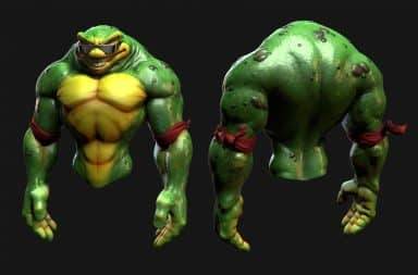 Battletoads character with muscles