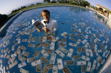 Swimming pool full of money