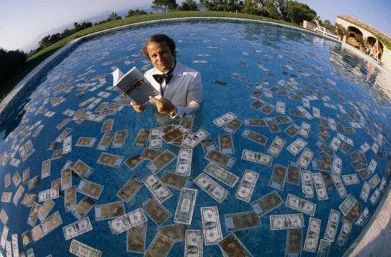 Swimming pool full of money