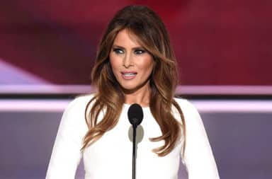 Melania Trump at the GOP 2016 convention giving a speech