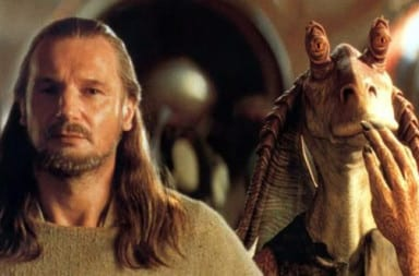 Jar Jar Binks and Liam Neeson