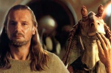Jar Jar Binks and Liam Neeson