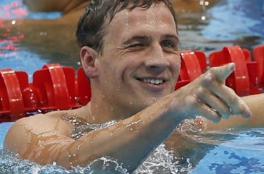 Ryan Lochte in swimming pool