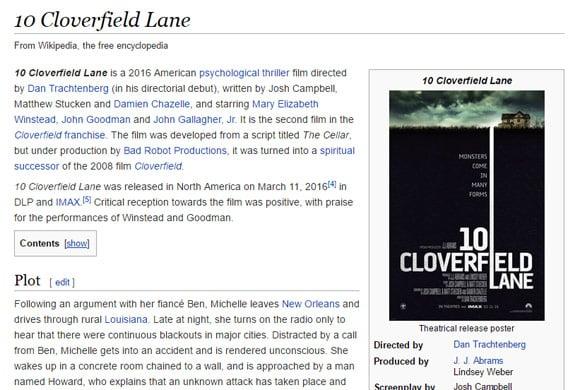 10 Cloverfield Lane Wikipedia Plot Summary Review