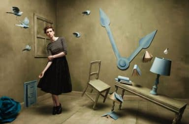 Woman with six senses in a room