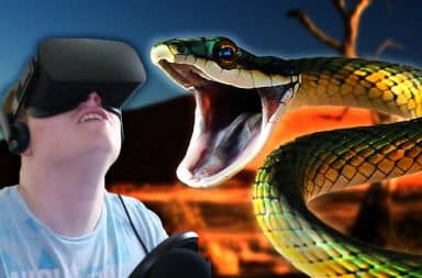 Guy scared of snakes