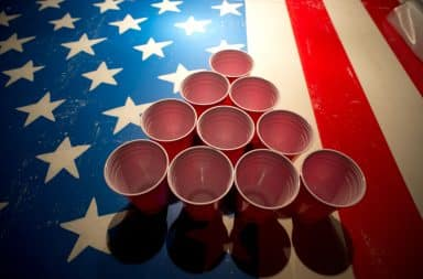 Red solo cups on an American flag table