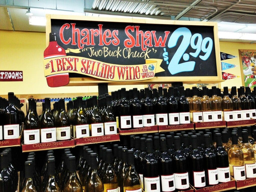 Trader Joe's Two Buck Chuck wine display in-store