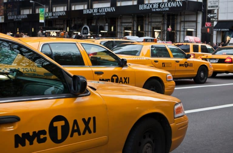 Taxis driving on NYC streets