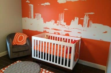 Painting nursery room orange