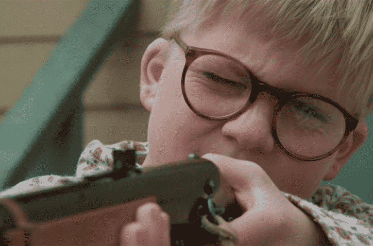Ralphie with a rifle