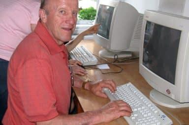 Dad at a computer