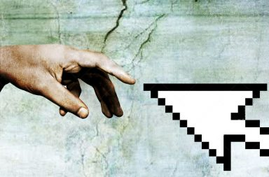 Hand of God touching a mouse pointer