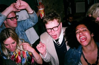 Lonely man having fun at a party