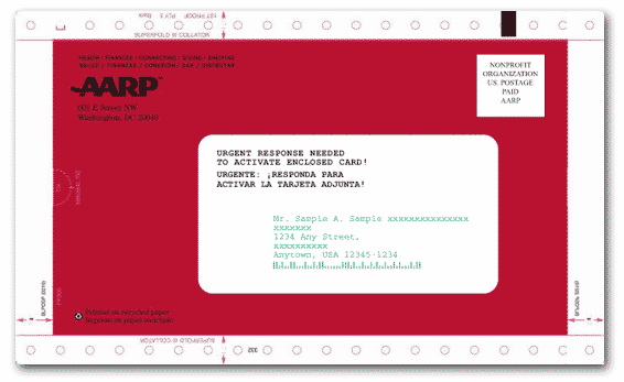 AARP letter from the mail