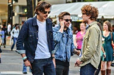 Guys wearing denim jackets