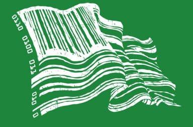 Green american flag bar code