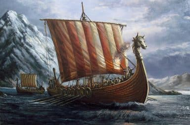 Viking ship sailing in the ocean