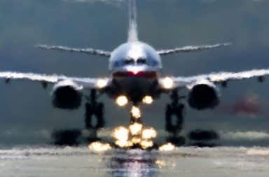 Blurry airplane on runway