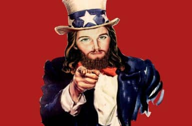 American Jesus pointing finger