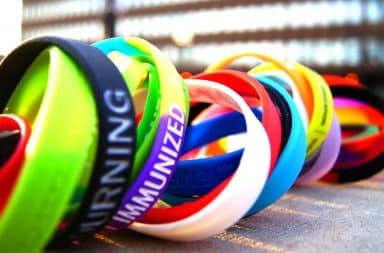 Many colored cause bracelets