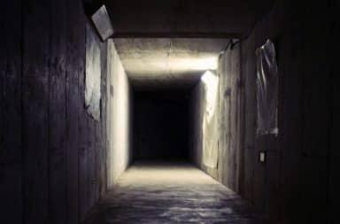 Dark scary crawl space below house