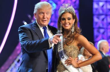 Donald Trump hugging Miss USA