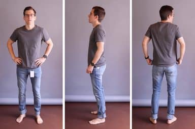 Man wearing GAP skinny jeans