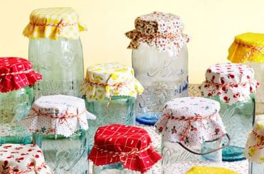 Mason jars with cloth pattern tops