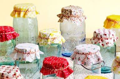 Mason jars with cloth pattern tops