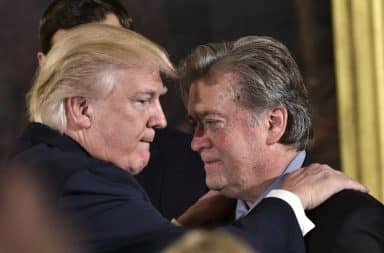 Steve Bannon hugging Donald Trump
