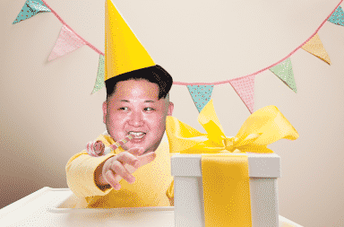 Kim Jong-Un wearing a birthday party hat