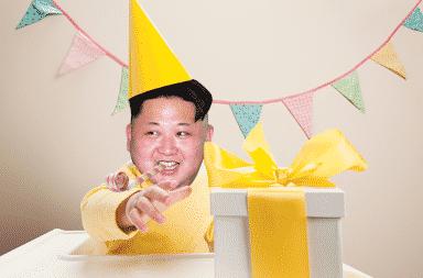 Kim Jong-Un wearing a birthday party hat