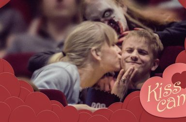 Awkward kiss cam with vampire