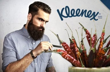 Man picking Kleenex spicy peppers