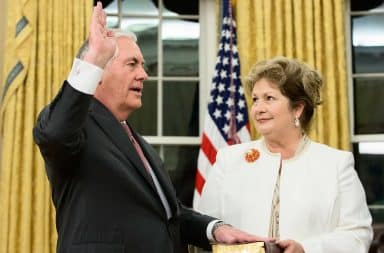 Rex Tillerson and his wife Renda St. Clair during his swearing-in as Secretary of State