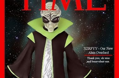 Alien overlord on the cover of Time Magazine