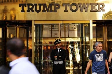 Trump Tower gold entrance to hotel